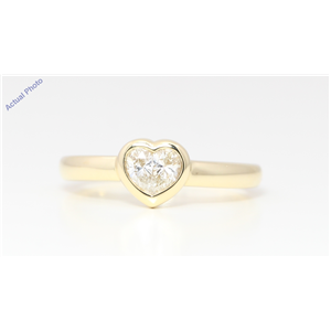 18k Yellow Gold Pear Diamond Two-Stone Invisible Setting Framed Heart Shaped Ring (0.41 Ct H VS Clarity)