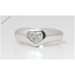 18k White Gold Pear Diamond Two-Stone Invisible Setting Heart Shaped Solid Ring (0.39 Ct H SI1 Clarity)