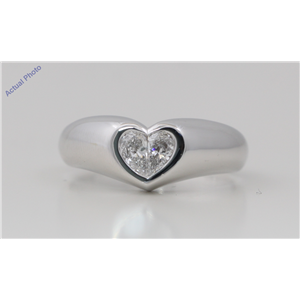 18k White Gold Pear Diamond Two-Stone Invisible Setting Heart Shaped Solid Ring (0.4 Ct G SI1 Clarity)