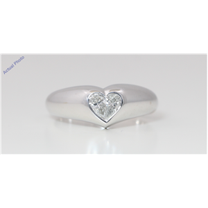 18k White Gold Pear Diamond Two-Stone Invisible Setting Heart Shaped Solid Ring (0.29 Ct G VS Clarity)