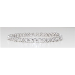 14k White Gold Round Diamond Multi-Stone Prongs Setting Floating Stone Tennis Bracelet (1 Ct G SI Clarity)