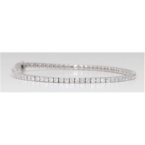18k White Gold Round Diamond Multi-Stone Prongs Setting Classic Tennis Bracelet (3.34 Ct G Color SI1 Clarity)