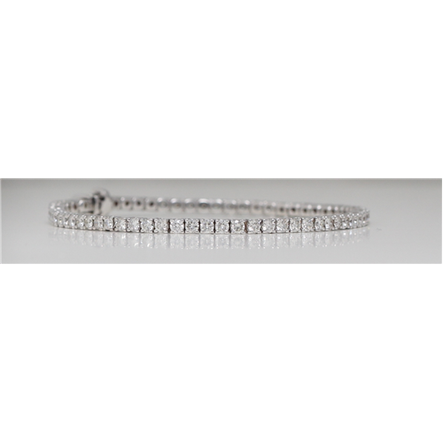 18k White Gold Round Diamond Multi-Stone Prongs Setting Classic Tennis Bracelet (3.93 Ct H-I VS Clarity)