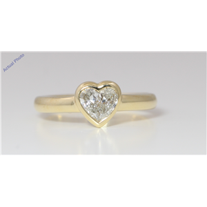 18k Yellow Gold Pear Diamond Two-Stone Invisible Setting Heart Shaped Framed Ring (0.54 Ct J SI1 Clarity)