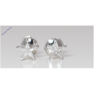 18k White Gold Kite Diamond Multi-Stone Set Star Shape Pentagram Studs (0.33 Ct G SI2 Clarity)