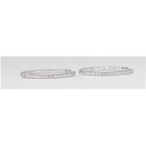 18k White Gold Round Diamond Multi-Stone Prongs Setting Inside Out Hoop Earrings (1.05 Ct G SI2 Clarity)