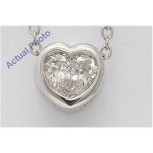18k White Gold Pear Diamond Two-Stone Vintage Framed Heart Shape Pendant (0.4 Ct G SI2 Clarity)