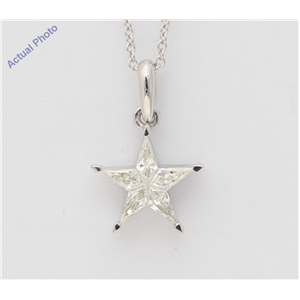 18K White Gold Kite Diamond Setting Multi-Stone Set Pentagram Star Necklace (0.34 Ct H Color Vs2-Si1 Clarity)