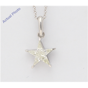 18K White Gold Kite Diamond Setting Multi-Stone Set Pentagram Star Necklace (0.24 Ct,J Color,Si2 Clarity)