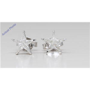 18K White Gold Kite Diamond Setting Multi-Stone Set Pentagram Star Earrings (0.3 Ct,I Color,Vs Clarity)