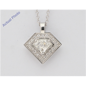 18K White Shield Diamond Multi-Stone Round Shield Prong Geometric Art-Deco Pendant (0.57 Ct H Vs Clarity)