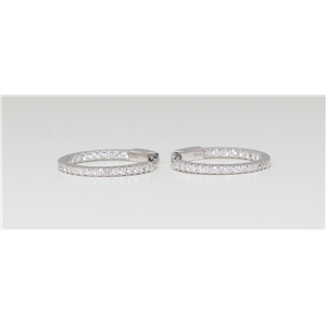 14K White Gold Round Diamond Multi-Stone Inner Outer Prong Set Hoop Earrings (0.65 Ct G Color Si2 Clarity)