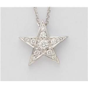 14K White Gold Round Diamond Setting Multi-Stone Prong Set Pentagram Star Necklace (0.17 Ct F Si2 Clarity)