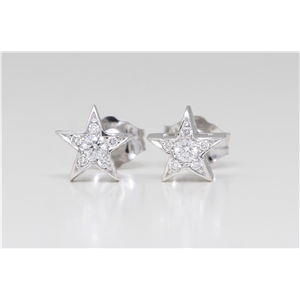 14K White Gold Round Diamond Multi-Stone Prong Set Pentagram Star Stud Earrings (0.08 Ct F Color Si1 Clarity)
