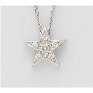 14K White Gold Round Diamond Setting Multi-Stone Set Pentagram Star Necklace (0.06 Ct,F Color,Vs Clarity)