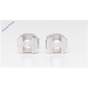 18K White Gold Baroness Diamond Tension Set Geometric Art-Deco Studs (0.22 Ct G Vs Clarity)