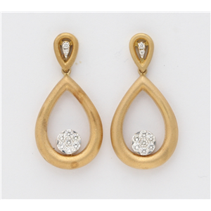 18K Yellow Gold Round Diamond Setting Multi-Stone Tear Drop Set Matt Drop Earrings (0.46 Ct G Vs Clarity)