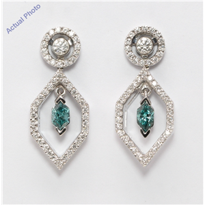18k Gold Multi-Stone Vintage Prongs Set Marquise Enhanced Drop Earrings (Blue(Irradiated) White Vs Clarity)