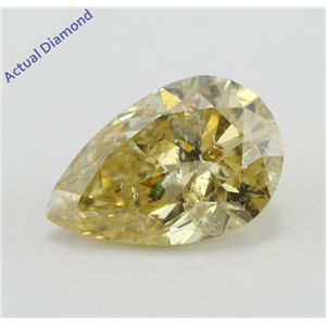 Pear Cut Loose Diamond (1.09 Ct, Natural Fancy Deep Yellow Color, I1 Clarity) IGI Certified