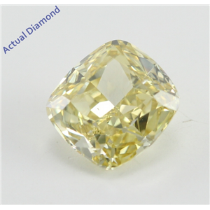 Cushion Cut Loose Diamond (0.72 Ct, Natural Fancy Yellow Color, SI2 Clarity) GIA Certified