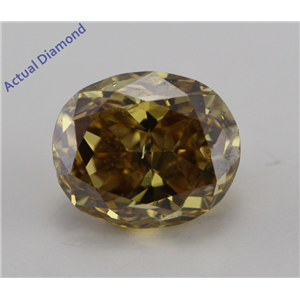 Oval Cut Loose Diamond (0.87 Ct, Natural Fancy Deep Greenish Brown Yellow Color, SI2 Clarity) IGI Certified