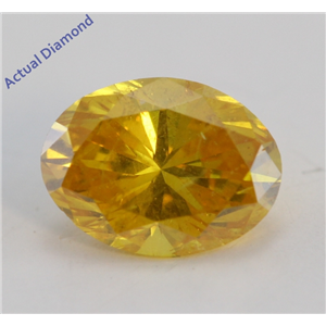 Oval Cut Loose Diamond (0.37 Ct, Natural Fancy Vivid Orange Yellow Color, I1 Clarity) GIA Certified