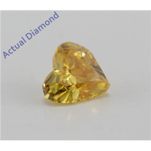 Heart Cut Loose Diamond (0.29 Ct, Fancy Vivid Orangy Yellow Color, SI1 Clarity) GIA Certified