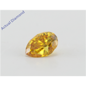 Pear Cut Loose Diamond (0.46 Ct, Fancy Vivid Orange-Yellow Color, SI2 Clarity) GIA Certified