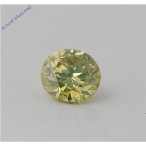 Round Cut Loose Diamond (0.34 Ct, Natural Fancy Yellow Green Color, SI2 Clarity) GIA Certified