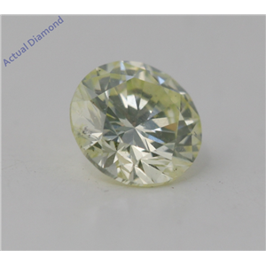 Round Cut Loose Diamond (0.71 Ct, Natural Light Yellow Green Color, SI2 Clarity) GIA Certified