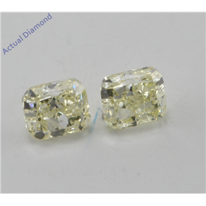 A Pair of Cushion Cut Loose Diamonds (1.4 Ct, Natural fancy yellow Color, si1-vs2 Clarity) IGL Certified