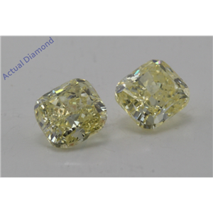 A Pair of Cushion Loose Diamonds (1.12 Ct, Natural fancy intense yellow Color, si2,si2 Clarity) IGL Certified