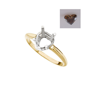 Heart Diamond Solitaire Engagement Ring 14k 0.52 Ct, Natural Deep Orange Cognac , VVS