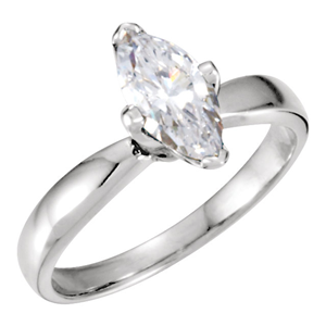 Marquise Diamond Solitaire Engagement Ring 14k White Gold 1.03 Ct, (H Color, I1 Clarity)