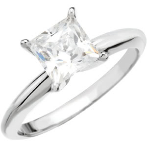 Princess Diamond Solitaire Engagement Ring 14K 2.73 Ct, L , SI2