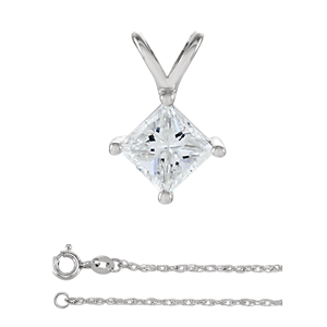 Princess Diamond Solitaire Pendant Necklace 14K White Gold (0.54 Ct, D Color, VS1 Clarity) GIA Certified