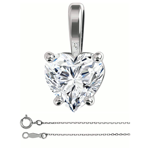 Heart Diamond Solitaire Pendant Necklace 14K White Gold (0.7 Ct, H Color, SI2 Clarity) GIA Certified