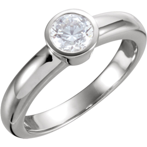 14K White Gold Round Cut Bezel Solitaire Diamond Engagement Ring (1.18 Ct, J Color, I1(Clarity Enhanced) Clarity)