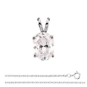 Oval Diamond Solitaire Pendant Necklace 14k White Gold ( 0.88 Ct, K Color, I1(Clarity Enhanced) Clarity)