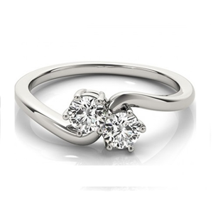 Round Two Stone Diamond Engagement Ring, 14K White Gold (0.62 Ct, D Color, VVS2 Clarity)