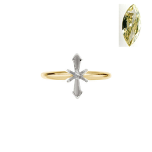 Marquise Diamond Solitaire Engagement Ring 14k 0.36 Ct, Natural Fancy yellow , I2