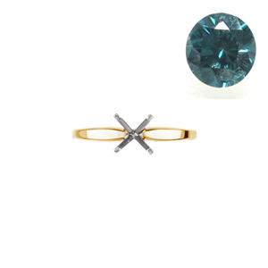 Round Diamond Solitaire Engagement Ring 14k Yellow Gold 1.17 Ct, (Blue-Green(Color Irradiated) Color, I2 Clarity)