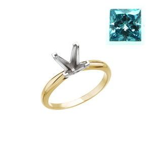Princess Diamond Solitaire Engagement Ring 14k 0.83 Ct, Blue(Color Irradiated) , SI2