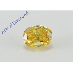 Oval Cut Loose Diamond (0.29 Ct, Natural Fancy Vivid Orangey Yellow Color, SI1 Clarity) GIA Certified