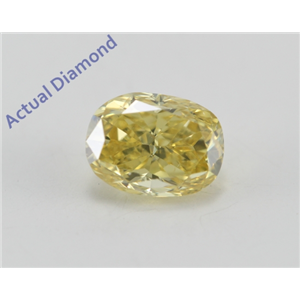 Cushion Cut Loose Diamond (0.65 Ct, Natural Fancy Vivid Yellow Color, SI2 Clarity) GIA Certified
