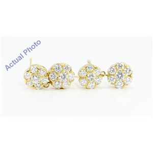 18k Yellow Gold Round Cut Diamond Double Flower Drop Earrings (3.8 Ct, F-G Color, VS1 Clarity)