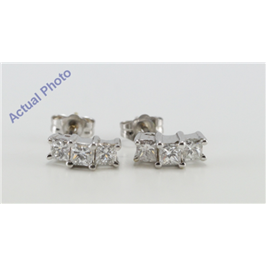 14K White Gold Princess Cut Diamond Drop Earrings (1 Ct, G-H Color, SI1-VS2 Clarity)