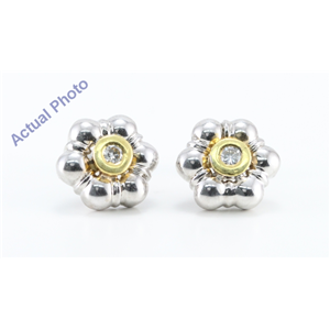 14k Two Tone Gold Round Cut Bezel Setting Flower Shaped Diamond Stud Earrings (0.2 Ct, G Color, SI Clarity)