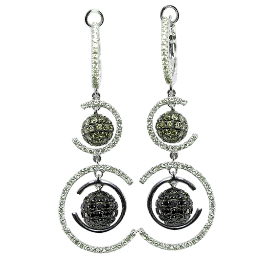 14k White Gold Round Cut Modern Style Diamond Dangle Earrings 1 96 Ct Natural Fancy Brown And Black