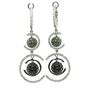 14k White Gold Round Cut Modern Style Diamond Dangle Earrings (1.96 Ct, White, Brown & Black Diamonds, SI Clarity)